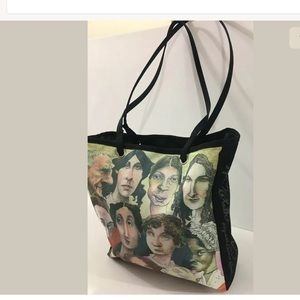 Vintage Old Writers Authors Poets  Bag Tote RARE